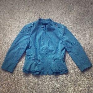 White House Black Market Peplum Jacket - Blue